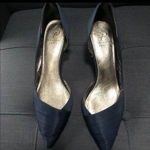 Adorable Navy Satin Shoe w/Sparkle Accent on Heel